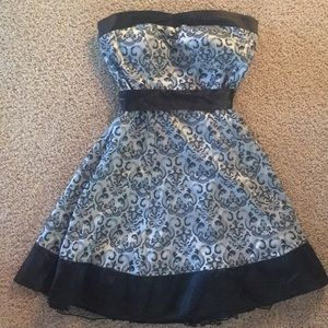 Sweetheart style silver and black cocktail dress